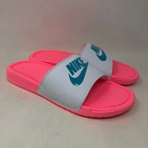 Nike Pink & White Slide Sandals 10